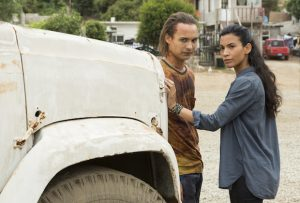 Frank Dillane as Nick Clark, Danay Garcia as Luciana - Fear the Walking Dead _ Season 2, Episode 14 - Photo Credit: Peter Iovino/AMC