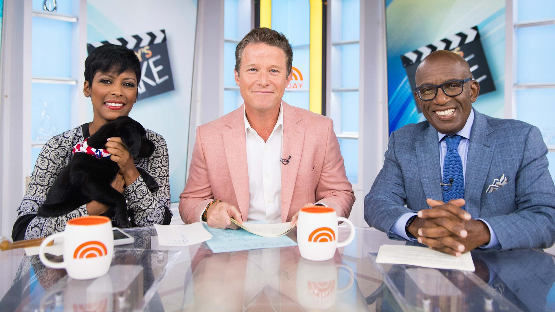 "In this Sept. 26, 2016 photo released by NBC, co-host Billy Bush appears on the ""Today"" show in New York. Bush says he's ""embarrassed and ashamed"" by a 2005 conversation he had with Donald Trump in which Trump made lewd comments about women. Bush, then a host of the entertainment news show ""Access Hollywood,"" was chatting with Trump as the businessman waited to make a cameo appearance on a soap opera. In a statement Friday, Oct. 7, Bush says he was younger and less mature when the incident occurred, adding that he ""acted foolishly in playing along."" (Peter Kramer/NBC via AP)  http://people.com/politics/billy-bush-today-not-fired-donald-trump/"